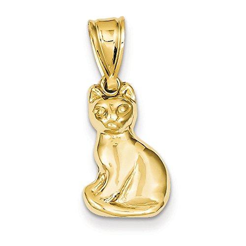 14K Yellow Gold Cat Charm Pendant