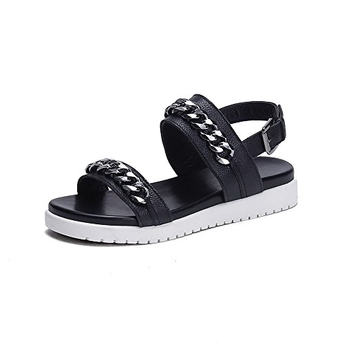 AmoonyFashion Womens Open Toe Low-heels Soft Material Buckle Sandals with Metal Ornament Black CYZcS
