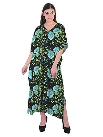 RADANYA Womens V Neck Long Caftan Dress Swim Cover Up Long Maxi Beach Floral Dress Black