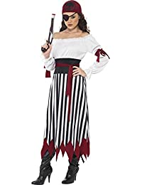 Smiffy's Women's Pirate Lady Costume Dress with Arm Ties Belt and Headpiece