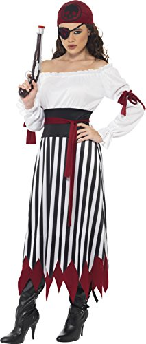 [Smiffy's Women's Pirate Lady Costume, Dress with Arms tied, Belt and Headpiece, Pirate, Serious Fun, Size 14-16,] (Halloween Pirate Woman Costumes)