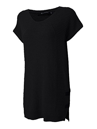 Neck Women Dress Black Round Casual Knit Loose fpxqwt8Cxa
