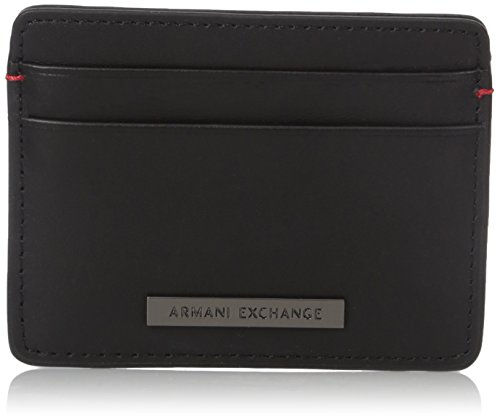 Armani Exchange Two Card Holder Accessory, Black, One - Credit Armani Card Exchange
