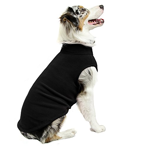 Gooby Stretch Fleece Pull Over Cold Weather Dog Vest, Black, 5X-Large (Large Dog Sweater)