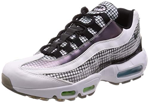 - Nike Men's Air Max 95 White/Black/Blue Gaze/Lime Blast Leather Cross-Trainers Shoes 9 M US