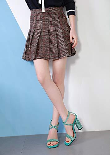 Sandales Fengjingyuan Sexy Green Pour Et Talons Épais Mode Paillettes Hauts Femmes ZfU7x