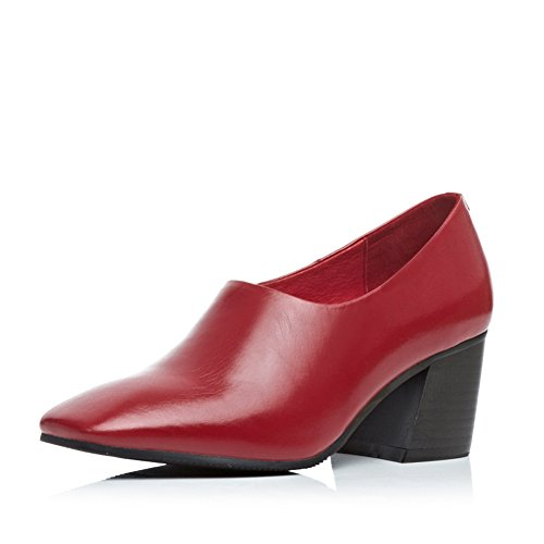 Minivog Mujeres Square Toe Leather Pump Zapatos Red