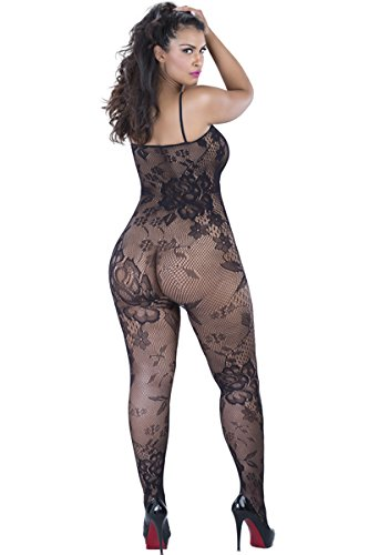00880dac87a Amazon.com  Queen Seamless Crotchless Bodystocking w  Lace Pattern + Red  Satin Gift Bag Valentine s Special  Clothing