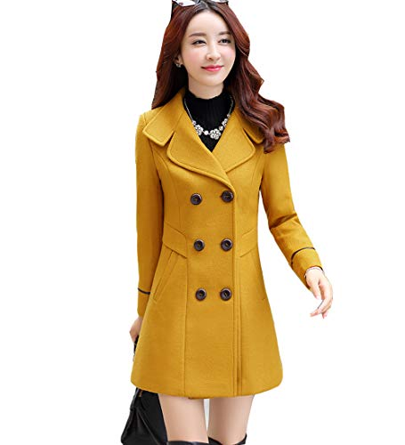 S&S-women Sweet Heart Solid Splicing Lapel Double Breasted Side Pocket Wool Pea Coat (Small, Yellow)