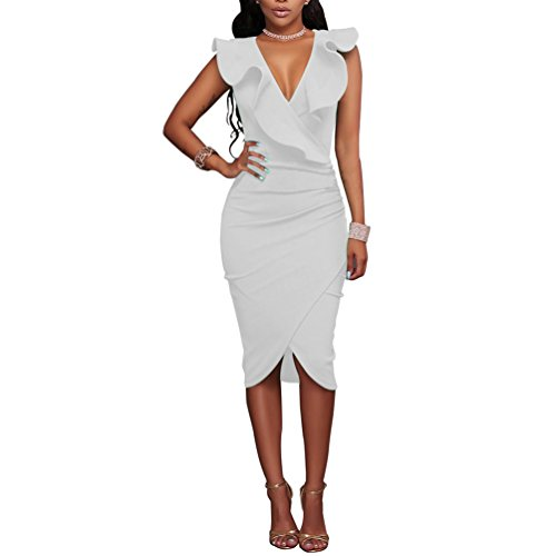 Women's Ruffles V-Neck Ruched Cocktail Club Evening Party Falbala Bodycon Dress XL White