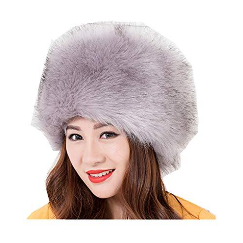 Women Winter Faux Fox Fur Plush Hat Russian Cossack Style Headband -