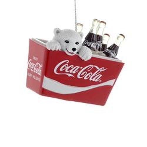 Coca-Cola Kurt Adler Polar Bear Cub in Coke Cooler Ornament, 2.75-Inch (Decor Christmas Coca Cola)