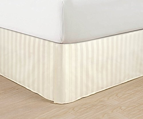 100% Egyptian Cotton, 1-Piece Split Corner 22'' Drop Length Tailored Bed Skirt (Ivory Striped, Queen size)---400 Thread Counts