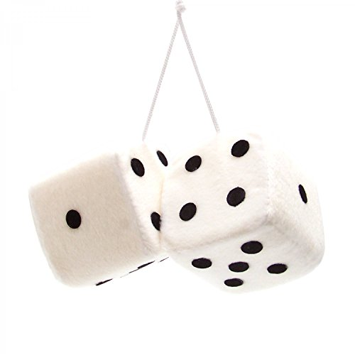 "Vintage Parts 14554 3"" White Fuzzy Dice with Black Dots - Pair"