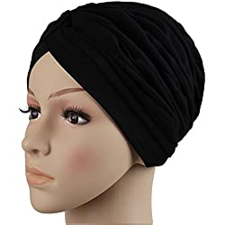 Roymall Women's black,Muslim Fashion Pleated Stretchable Hijab Caps Turban Hat,MA156