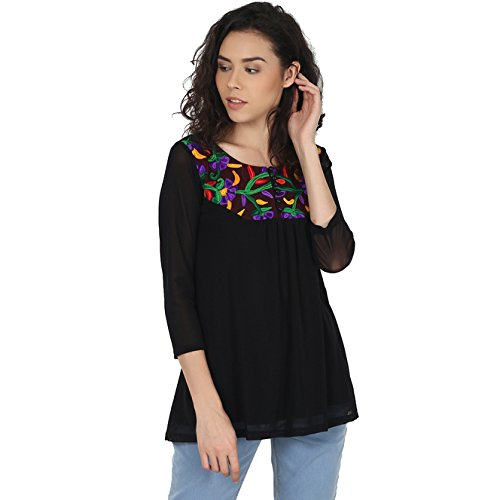 58e17b0cdd6 PepTrends Women's Embroidered Net top (Small to XL): Amazon.in ...