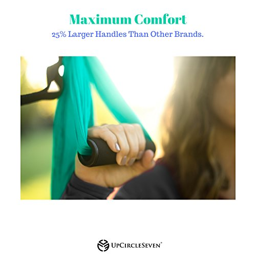 Aerial Yoga Swing - Ultra Strong Antigravity Yoga Hammock/Trapeze/Sling for Air Yoga Inversion Exercises - 2 Extensions Straps Included (Turquoise) by UpCircleSeven (Image #5)
