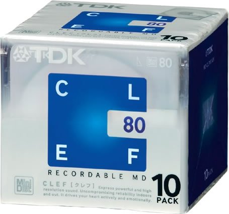 (TDK CLEF 80-minute Blank Mini Disc Md Recordable Minidisc 10 Pcs Pack)