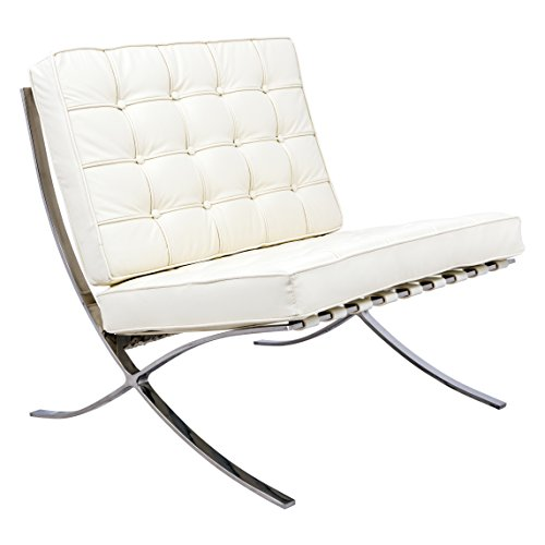 LeisureMod Bellefonte Style Modern Leather Pavilion Chair, Vanilla