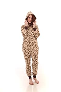 Funzee Leopard Spot Adult Onesie Non Footed Pajama Jumpsuit XS-XL Size by Height