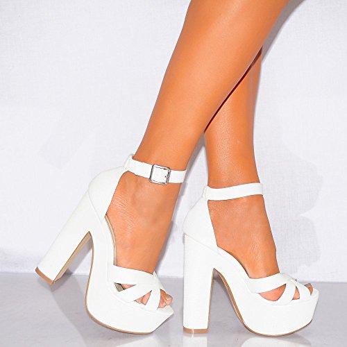 Ladies Womens Sandali Con Il Cinturino A Malapena Là Bianco Caviglia Cinturino Bracciale Piattaforme Peep Toe Tacchi Alti 3-8 UK7/EURO40/AUS8/USA9