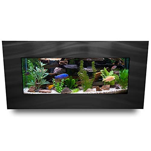 Double Tank Wall - Aussie Aquariums AA-Skyline-BBLACK 2.0 Wall Mounted Aquarium, Brushed Black
