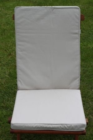 uk gardens cream beige garden furniture seat and back full folding chair cushion removable