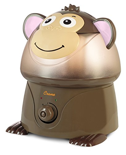 Crane USA Humidifiers - Monkey Adorable Ultrasonic Cool Mist Humidifier - 1 Gallon Adjustable Mist Output, Automatic Shut-off, Whisper-Quiet Operation for Home Bedroom Office Kids & Baby Nursery