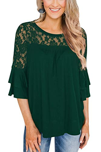 Hegeo Womens Lace Casual Tunic Tops 3/4 Ruffle Bell Sleeve Blouses Shirts Dark Green