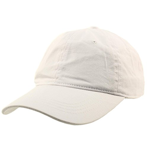 White Cap Ball (Everyday Unisex Cotton Dad Hat Plain Blank Baseball Adjustable Ball Cap White)
