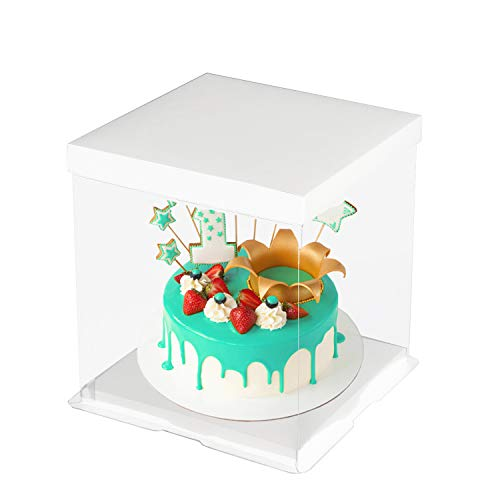 CODOHI 6 Packs Clear Plastic Birthday Cake Carrier Bakery Packaging Boxes Transparent Baking Cookie Display Pack Box Carry Tall Layer Gift Toy Box 6.7