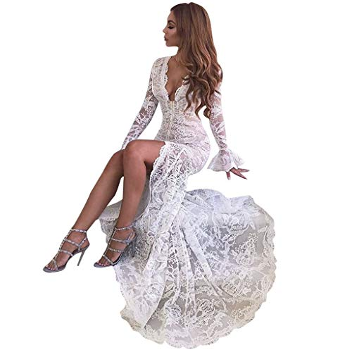 (Women Long Dress Sexy Long Sleeve V-Neck Bodycon Solid Mermaid Ankle-Length Cocktail Party Prom Gown Sundress Daorokanduhp)