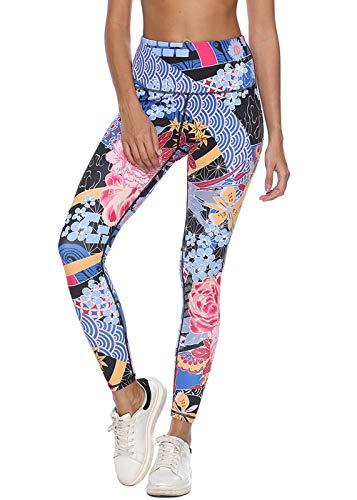 Mint Lilac Women's Full-Length Printed Leggings Fashion Workout Pants Large