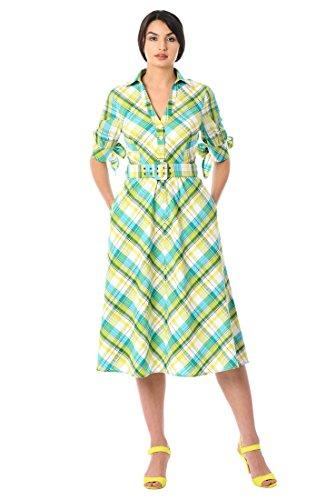 eShakti Women's Seersucker Check Cotton Belted shirtdress XL-16 Short (Petite Stretch Seersucker)