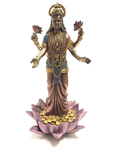 (Lakshmi Hindu Goddess on Lotus Statue Sculpture)