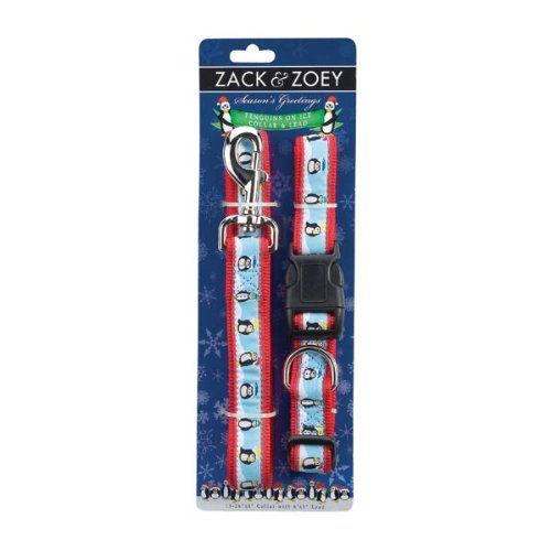 Zack & Zoey Nylon Season's Greetings Collar and Lead Set, Penguins On Ice, 6 to 10-Inch by Zack & Zoey