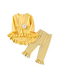 Camidy Toddler Girl Outfit Long Sleeve Ruffle Dress Tops Pants Fall Spring Clothes Set