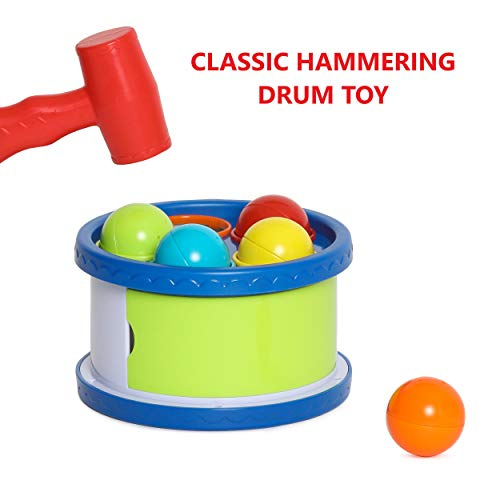 Kids Toys - Hammering Drum - Pound a Ball Toy - Developmental Toy , Classic Hammering Pounding Toy for Toddlers - Helps Fine Motor Skills - Toys for 1 Year Old (12 M+) (Fine Motor Skill Toys For 1 Year Old)