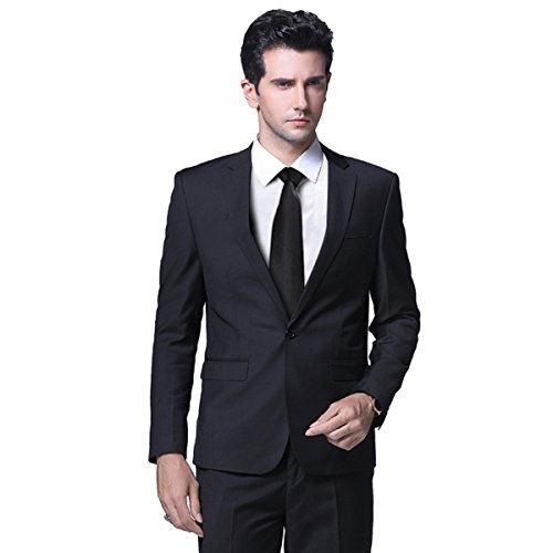 Mens One Button Formal 2 Piece Suits Slim Fit Multi-Color Wedding Tuxedo by YFFUSHI