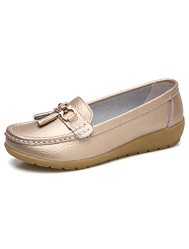 Minibee Women's Casual Tassel Loafers Slip On Nurse Shoes Driving Flat Gold CH41/US 9 by Minibee