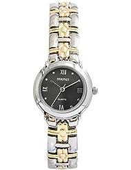 Ferenzi Women's | Small Black Face Two-Tone Link Bracelet Watch | FZ14602