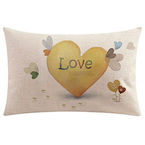Rectangle Heart Printed Retro Cushion Cover Elogoog Sweet Lovers Couples Linen Throw Pillow Case 12 x 20 Inches For Bedroom Sofa Couch Chair Back Seat (Pattern Love Printing (12x12 Corduroy)