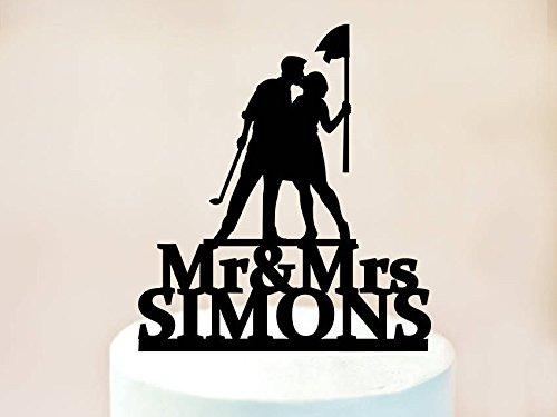 Golf Theme Wedding Cake Topper,Golf Cake Topper,Cake Topper