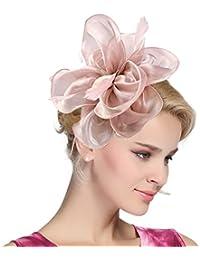 Women's Vintage Flower Feather Mesh Net Fascinator Hair...