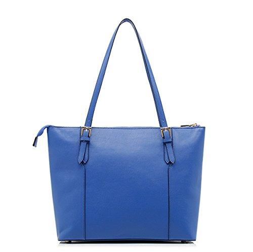 Mujer Nuevo Estilo Manera Raya Capacidad Grande Práctico Y Durable PU solo Bolso De Hombro Blue
