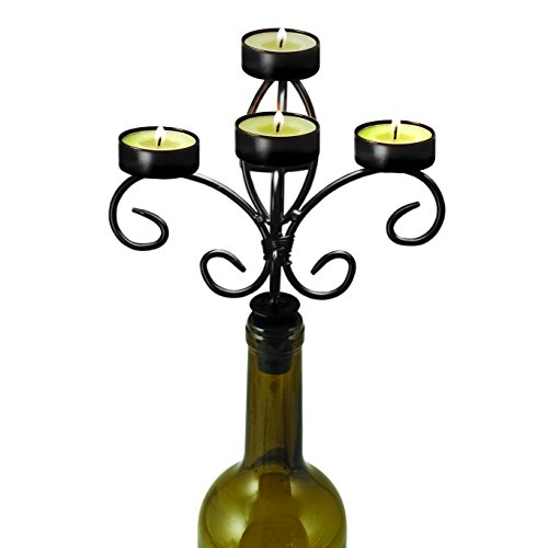 5-Candle Wine Bottle Candelabra with Distressed Black Bronze Metal Finish