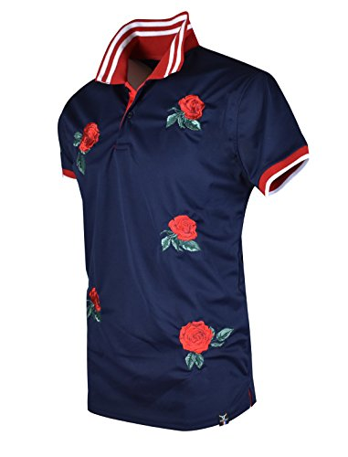 SCREENSHOTBRAND-S11815 Mens Hipster Hip-Hop Premium Tees - Stylish Fashion Rose Flower Embroidery Polo T-Shirt - Navy-Medium