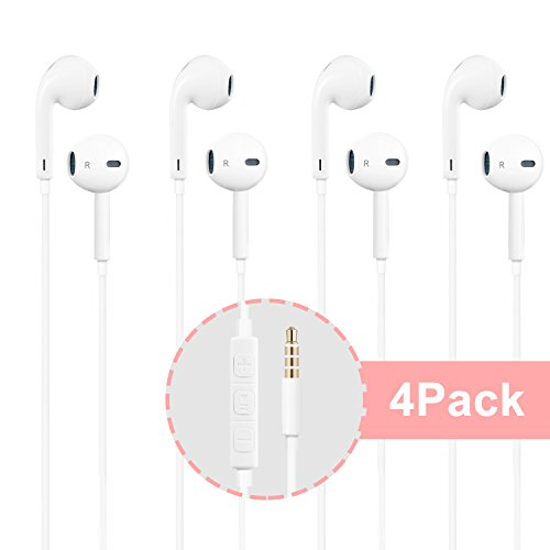 Headphones,4Pack Stereo Earphones,Earbuds with Mic and Remot