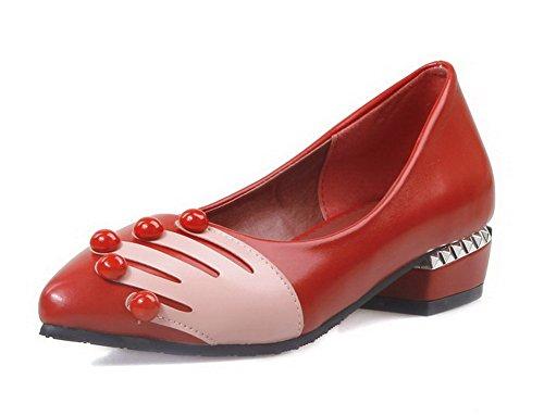 AllhqFashion Mujer Tachonado Material Suave Mini Tacón Sin cordones Puntera Cerrada Puntera en Punta De salón Rojo