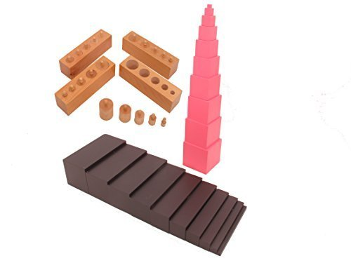 NEW Montessori Sensorial Package 1a (Family Set - Brown stair, Pink tower, premium Cylinder blocks) by PinkMontessori
